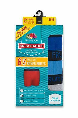 Fruit of the Loom 6 Pack Boys Cotton Mesh Breathable Boxer Brief Medium 10-12