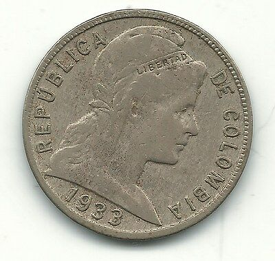 A Very Nice 1933 Colombia Five - 5 Centavo Coin-Apr554