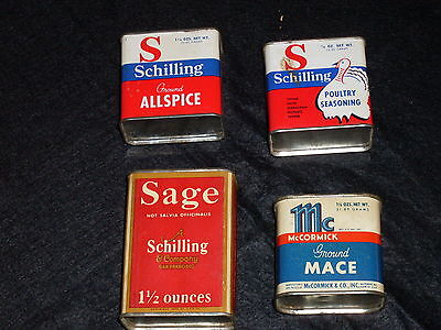 Vintage Tin & Cardboard Spice Tins. Wow! Schilling/MCCormick - 1933, 1946, 1994