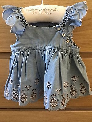 Baby Gap Girls Chambray Embroidered Tunic Top 3-6 Months