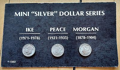 "Vintage Lot of 3 Collectible Mini ""Silver"" Dollar Novelty Coins Ike/Peace/Morgan"