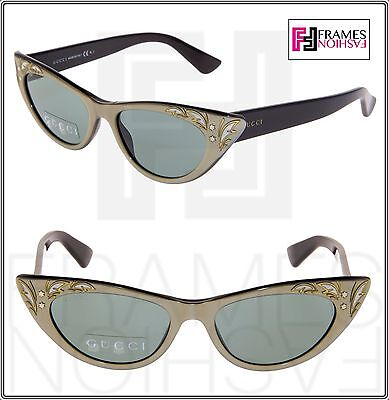 2344a3df8f5 GUCCI GG3807S Shiny Black Mother Of Pearl Green Thin Cat Eye Sunglasses 3807