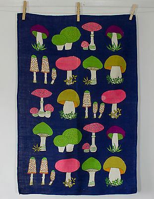 vintage 1960s unused Irish linen Mushrooms print tea towel