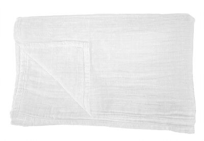 """NEW 100% Organic Cotton SOFT Muslin 2 Layer Swaddle Baby Blanket 48"""" X 48"""" White"""