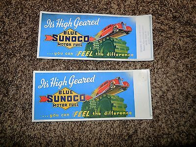 "1937 BLUE SUNOCO MOTOR FUEL ""IT's HIGH GEARED"" INK BLOTTER! TWO FOR ONE BID!!!"