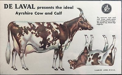 Scarce De Laval Ayrshire Die-cut Cow and Calf Punch Out Heavy Paper Advertising