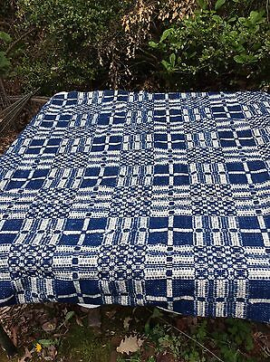 Antique Early 1800's Loom Woven Coverlet 2 Panels 9 Wheel Chariot Indigo & White