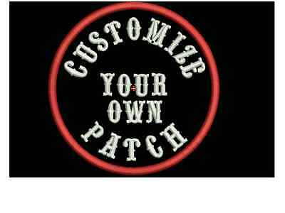 "Custom Embroidery 4"" Round  Patch Biker Embroidered Funny sayings Outlaw MC logo"