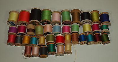 Vintage Lot C 40 WOOD THREAD SPOOLS Corticelli Star Coats & Clarks