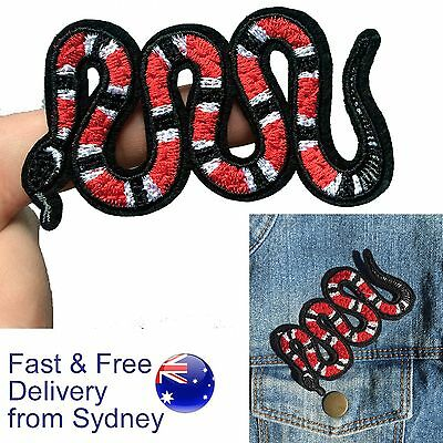 Snake iron on patch - red milk or coral snake zoo animal - Fast & free delivery