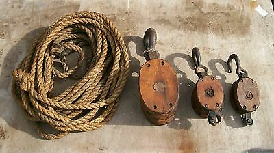 Antique Triple Block And Tackle,wood And Iron, Barn,maritime, Original Rope,