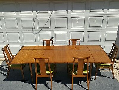 Mid Century Solid Walnut Dinning Table and 6 Chairs By Lane Made Alta Vista
