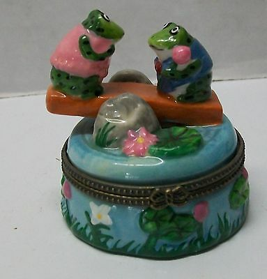 Frog Trinket Box Girl and Boy Frog Teeter Totter Seesaw Lily Pad Flowers