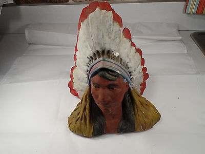 "Vintage,1934  Cigar Store Chalkware Indian Bust 8.5"" Tall"