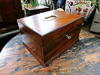 Vintage Victorian Jewellery Box, Drawer/drop Front, Good Condition.