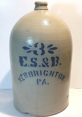 Antique Stoneware Crock Jug 3 Gallon E.S.& B New Brighton PA