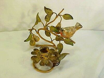 Great Vintage Metal  Italian Tole Painted Bird & Pears Candle Holder Shabby Chic