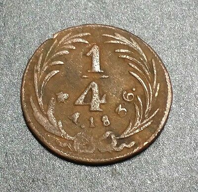 Mexico ☆1836☆1/4 Real☆Un Quarto☆ Una Quartilla Large (very scarce)  Copper Coin