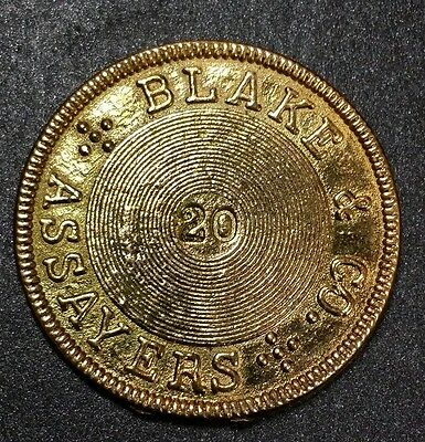 1855 California Gold 20 Dollars Token - Blake & Co. Assayers