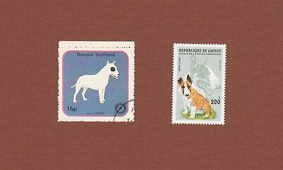 Bull Terrier dog stamps set of 2