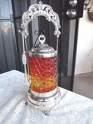Fantastic Victorian Ornate Pickle Castor Daisy Button Amberina Glass Insert
