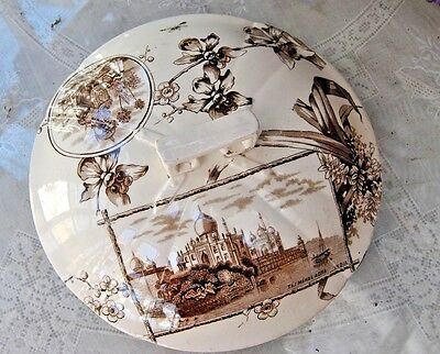 Vintage Victorian  Chamber Pot Lid, Wonderful Colors Brown Ironstone