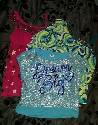 EUC Justice girls summer shirts tank top lot (3) size 14 pre-owned