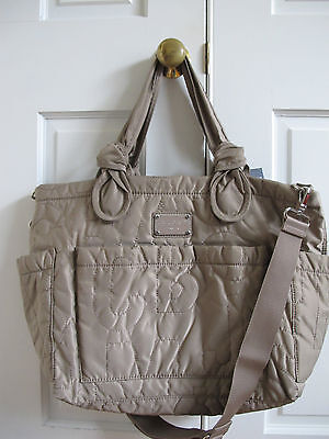 NWT Marc By Marc Jacobs Pretty Nylon Eliz-A-Baby Diaper Bag Tote Taupe Cement