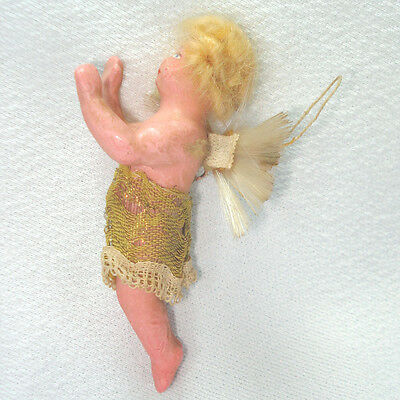 Antique Germany Wax Composition Angel Christmas Ornament