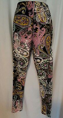 Nwt Women's Leggings Plus Size 8/20 Buttery Soft Black Multi Paisley  Print ⚘