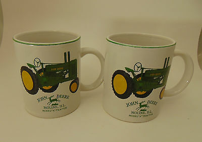 (2) John Deere Green Collectible Tractors Coffee Cups Moline, Ill.