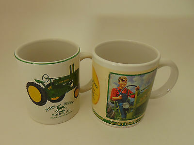 Lot Of (2) John Deere Green Collectible Tractor Coffee Cups