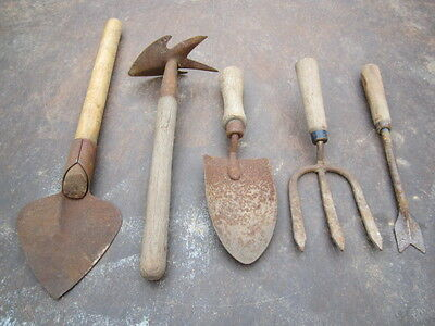 Vintage garden tools lot of 5 with wood handles