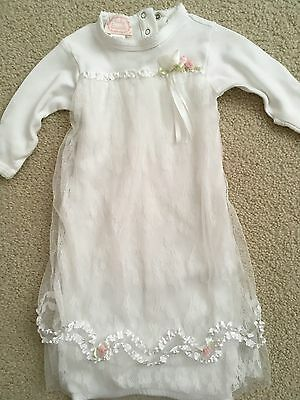 BABY BISCOTTI Girls Lace Front Gown, Newborn, Ivory White Ribbons Tulle