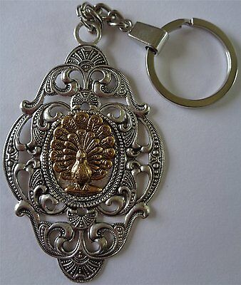 Beautiful Handmade Cameo Key Ring Decorative Art Nouveau Style Golden Peacock