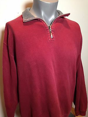 Tommy Bahama Mens Large Red 1/4 Zip Cotton Pullover Sweatshirt