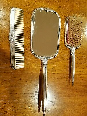 Large sterling silver mirror, brush and comb set