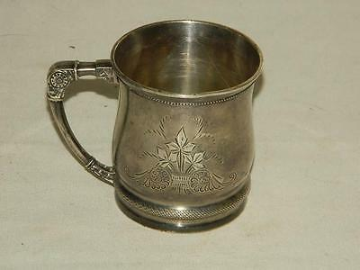 ANTIQUE WHITING HAND CHASED STERLING SILVER CHRISTENING BABY CUP c.1890's