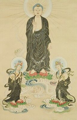 Hanging Scroll Japanese Painting Buddhist image Japan Asian Gold ink divine b333