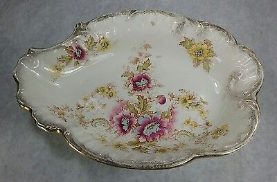 Antique Victorian S.F. & Co Chester England Serving Bowl Plate Floral China Gold