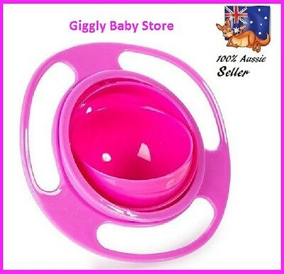 Non Spill Bowl 360 Rotating Gyro Feeding Bowl Pink For Baby Toddler + FREE  Gift