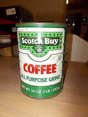 """Safeway VTG."""" Scotch Buy"""" All Purpose Grind Coffee Tin Can Canister, 1 Pound"""