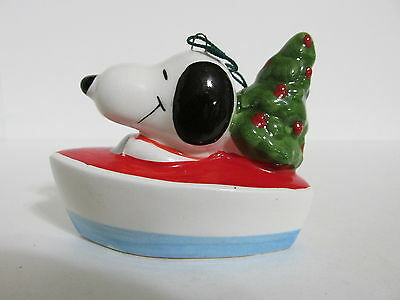 Snoopy Peanuts Charlie Brown Determined Ceramic Christmas Ornament Figure 1979