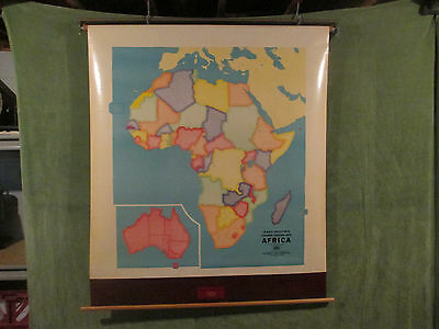 Vintage Canvas George F. Cram Africa Outline Classroom Wall Map 1960's 1970's A5