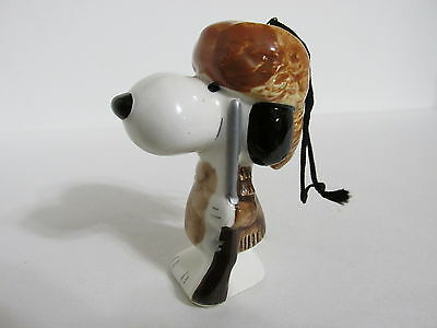 Snoopy Peanuts Charlie Brown Determined Ceramic Christmas Ornament Figure 1975