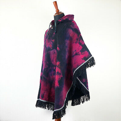 Llama Wool Mens Unisex South American Poncho Cape Coat Jacket Cloak Abstract