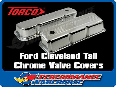 Ford Cleveland 302 351 Tall Design Chrome Steel Valve Covers Pair