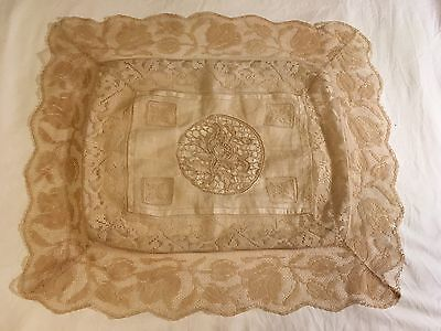 Antique Filet Net Lace Boudoir Pillow Cover Insertion Needle Lace Fillet Trim