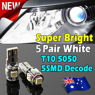 10x T10 5 SMD Canbus LED Light Error Free Parking Number Plate Reverse Lamp Bulb