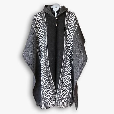 Llama Wool Mens Unisex South American Handwoven Poncho Cape Coat Jacket Cloak